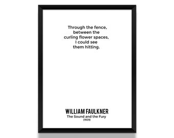William Faulkner Poster, The Sound and the Fury Opening Lines Poster, Book Poster, Literature Poster