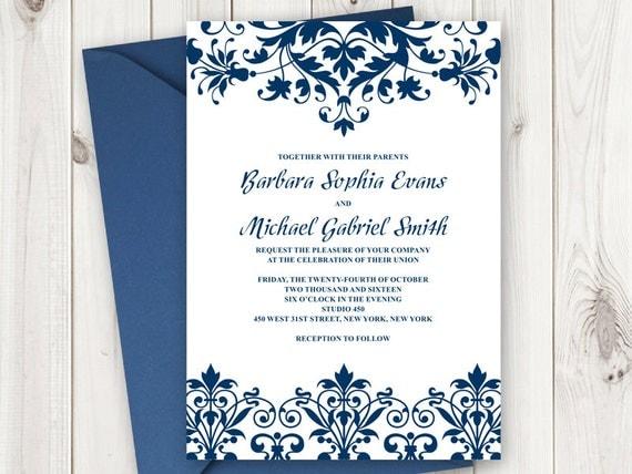 Elegant Wedding Invitation Wording: Elegant Wedding Invitation Printable Template