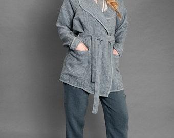LINEN JACKET - JACKET for Spring, Summer, Autumn, Bluish - grey Linen Jacket, Women Gift