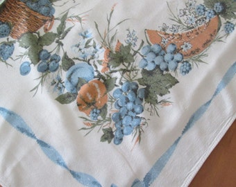 Pretty 1950s Vintage Cotton Tablecloth With Fruit Graphic Design