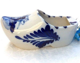 Mid century Delft Blue shoe. Hand painted porcelain Dutch shoe with windmill.