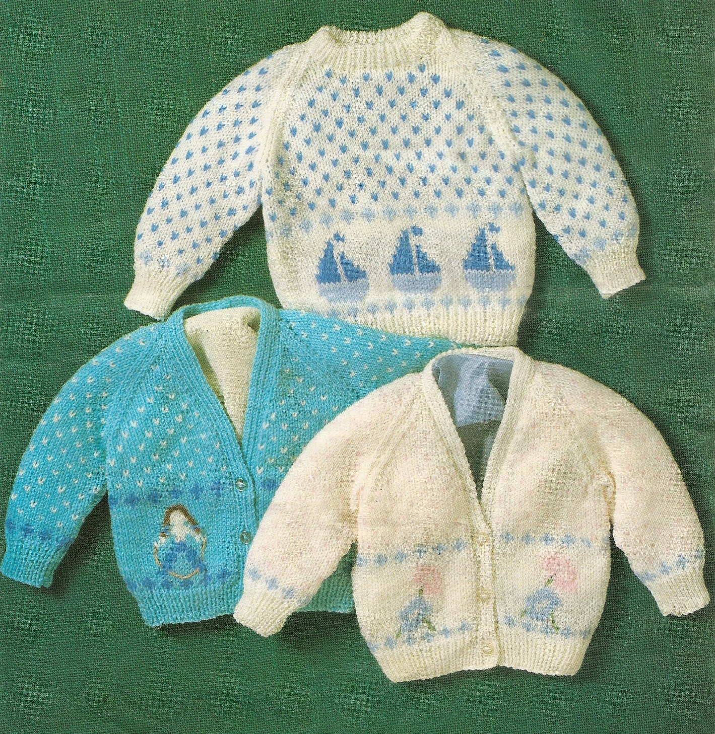 Knitting Patterns Baby Motifs : Knitting Pattern Babys Sweater & Cardigans with Boat Girl