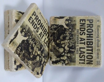 4 x 4 Travertine Stone Coasters/Trivets/Art Decor (Set of 4) - Prohibition Ends At Last!