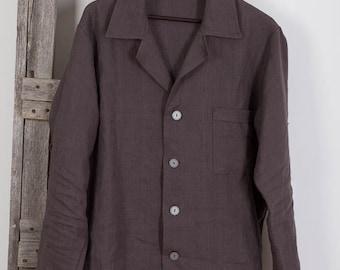 Mens Linen Shirt , Gray Linen Shirt, Homewear, Linen Leisure Shirt, Natural linen shirt, Mens beach shirt Summer shirt