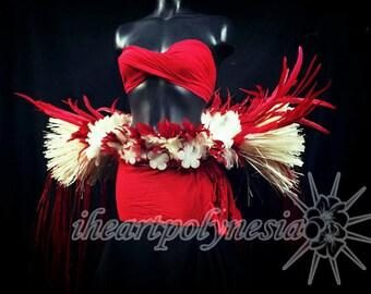 Tahitian dance costume feather & hau hip belt