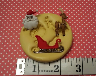 Christmas Santa sled silicone mold , gumpaste fondant cake decorating, chocolate, candy, polymer clay