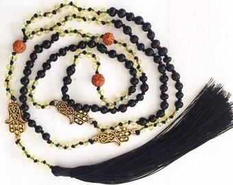 Fatima Hand Necklace/Rudraskha necklaces/Tassels necklaces/Yoga neckalce/Buddhist/Mala/Beads * ZENY NECKALE