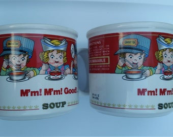 90s Vintage Campbell Soup Cups / Campbell Soup Mugs / Set of 2 / M'My M'My Good / Campbells / Christmas in July / CIJ / Classic / Rare