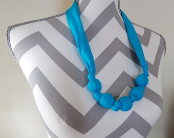 Fabric Teething Necklace - Aqua, Breastfeeding Necklace, Nursing Necklace