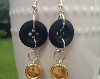 Black and Gold Button Earrings