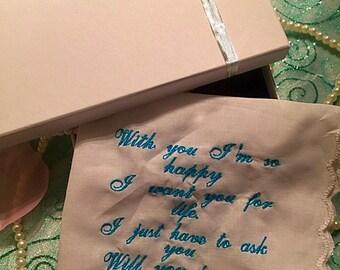 Wedding proposal handkerchief by weddingtokens