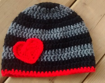 Valentines day hat, valentines day outfit, striped hat, Winter hat, toddler winter hat, photography prop, toque, knit hat, crochet hat