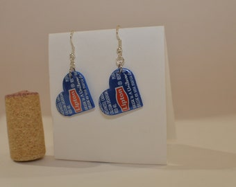 Lipton Small Heart Earrings made from Brisk Iced Tea can