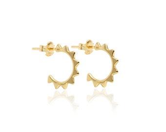 triangle hoop, Tiny gold earrings, hoop, mini gold hoop, dainty earrings, stud earrings, gold earrings