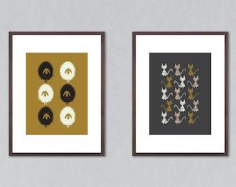 Set of 2 prints, set of prints, art print set, art prints, wall decor, home decor, animal lover gift, animal prints, sheep print, cat print