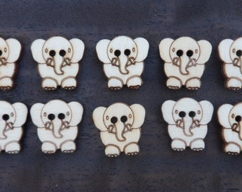 Wooden Elephant Buttons (pack of 5 or 10)