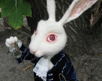 White Rabbit Alice's in Wonderland Needle felted