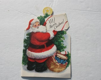 Vintage Die Cut Santa Claus Christmas Card, 1950s 50s USED Cute Christmas Card, Scrap Booking