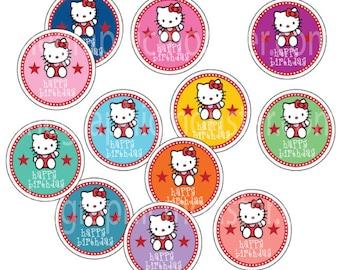 Hello Kitty Printable Cupcake Toppers, Cupcake Toppers, Hello Kitty Party, Birthday Party Supplies, Party Supplies, Digital Cupcake Topper