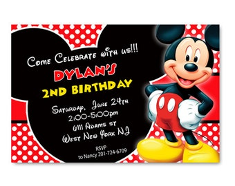 Red Mickey Mouse Birthday Invitations - Printable or Printed