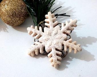 Snowflake brooch polymer clay, white star, Christmas brooch,