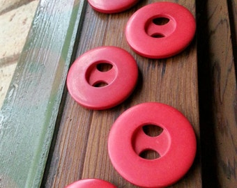 Retro Red Buttons. Vintage Buttons. Large Buttons.