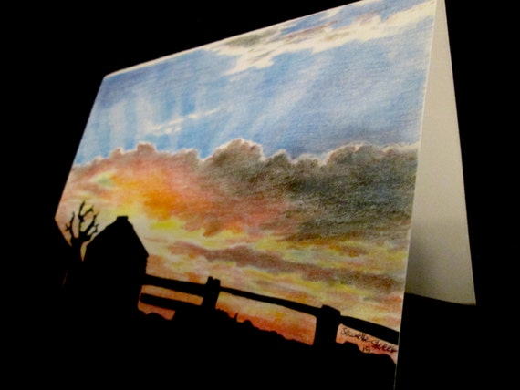 country silhouette at sunset colored pencil card print