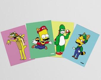 The Simpsons x Super Mario A6 Art Prints