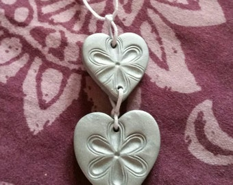Clay silver flower pendant