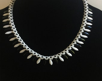 Black & White Czech Daggers Necklace