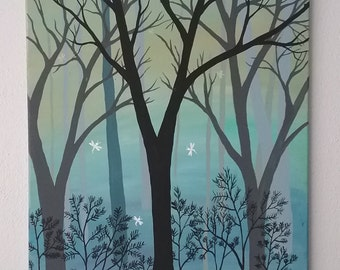 Misty Forest, acrylic painting, hand-painted, original, signed art, blue forest, dragonfly forest, dragonfly painting