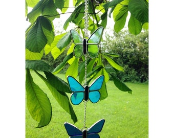 Stained Glass Blue Butterfly Mobile Suncatcher Gift Decoration
