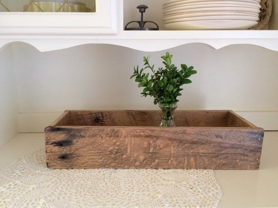 Wood centerpiece box rustic wedding reclaimed oak pallet