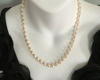 Danbury Mint Pearls and 14K Gold Spacer Necklace