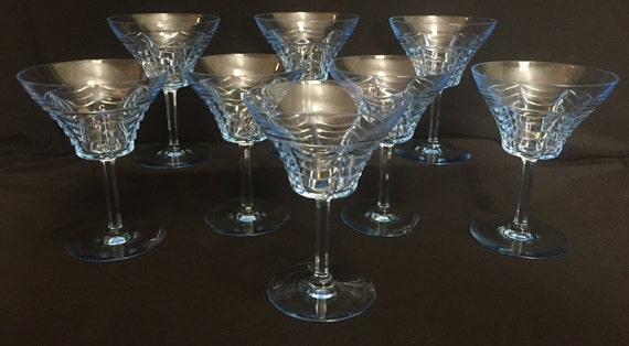 8-Vintage-1940's-Orrefors-Blue-Cut-Champagne-Tall Sherbets-Stems-Draped-Swag-5 1/2 Inches-Sweden