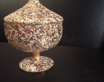West Virginia Glass Candy Dish with Lid, 24k gold & white splatter