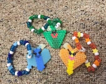 Lot of 3 Butterflies on shooting star kandi bracelets blue green yellow