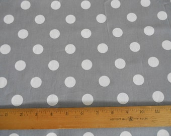 Gray with White Dots cotton fabric by the yard