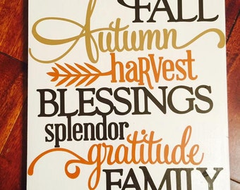 Fall Blessings Wood Sign
