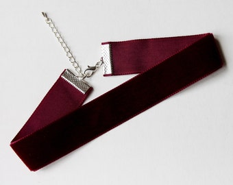 Thick Velver Burgundy Choker Necklace