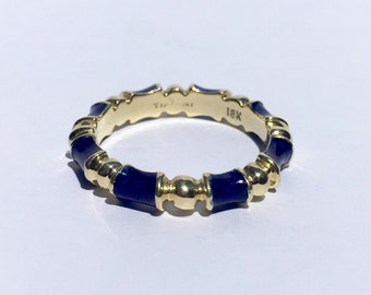 SALE! Vintage 1960's Tiffany&Co 18K Yellow Gold Blue Enamel Ring size 5.75