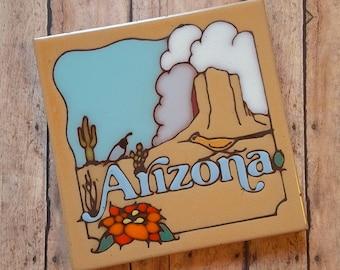 Vintage Arizona Masterworks Handcrafted Art Tile Trivet - Made in USA - Desert scene - Quail - Roadrunner - Mesa - Cactus - Hand glazed