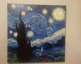 Hand Painting Starry Night Reproduction Acrylic on Canvas Van Gogh 39.5cm Square x 1.5cm Vincent Van Gogh