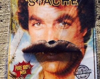 Vintage 70s Deadstock Tom Selleck Brown Clipon Mustache