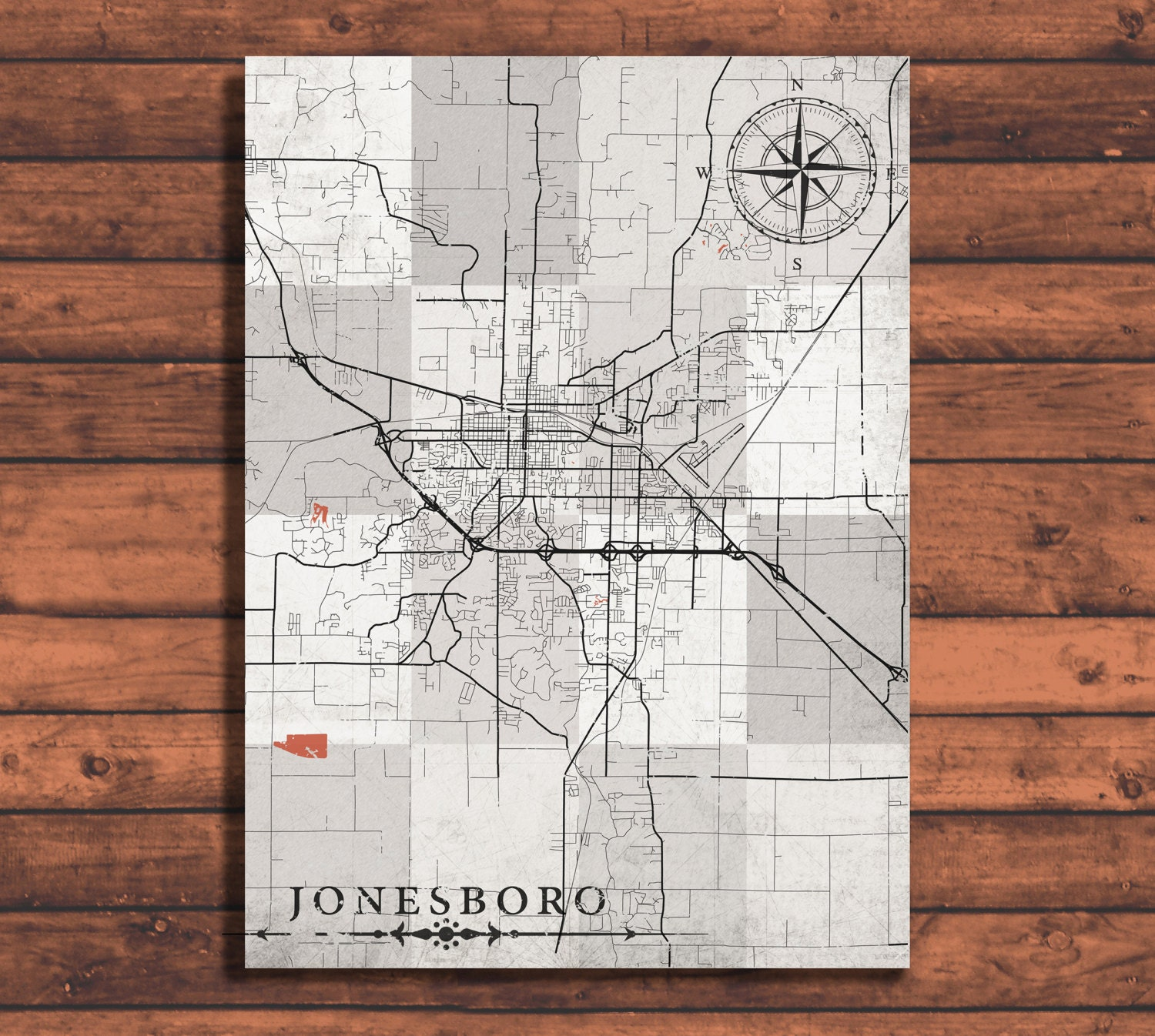 Jonesboro Ar Canvas Print Arkansas Ar Vintage Map Town