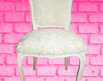 Louis XV Polar Bear accent Chair White Carved Frame Hairy Chair shabby chic cottage style custom piece cozy side chair amelierococo