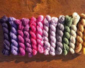 Pre-Order Myster Mini Skeins set, Sock yarn Minis, 12 mini skeins, 5 Grams each- Ready to ship May 10th