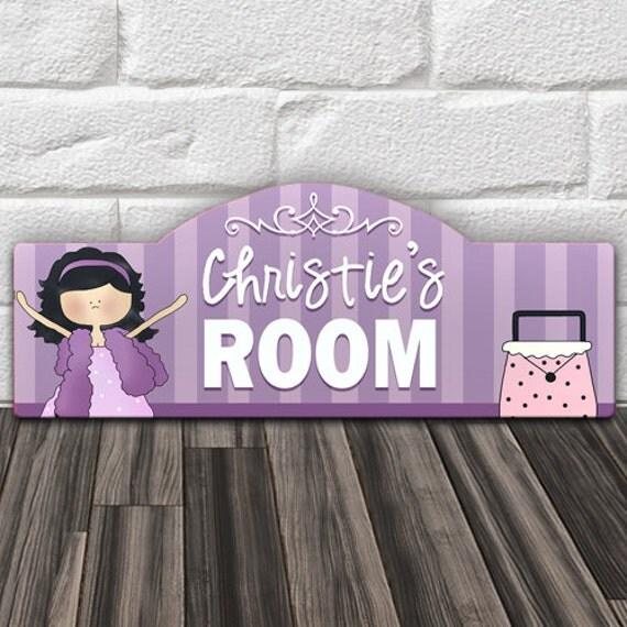 Custom Personalized Kids Wood Wall Room Door Sign Purple