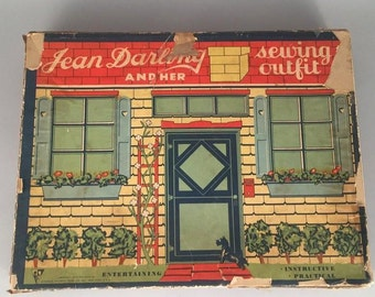 """Very Vintage (c. 1934) """"Jean Darling and Her Sewing Outfit"""" Doll Kit in original box. WOW"""