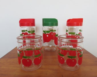 HENKEL France Red Apple 5 jars sugar flour and jam mid century 1970 70's vintage french glass jars